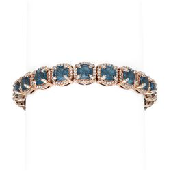41.37 ctw London Topaz & Diamond Bracelet 18K Rose Gold