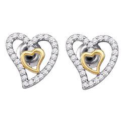10kt White Gold Round Diamond Heart Screwback Earrings 1/5 Cttw