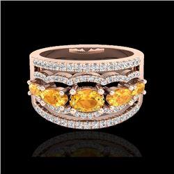 2.25 ctw Citrine & Micro Pave VS/SI Diamond Designer Ring 10K Rose Gold