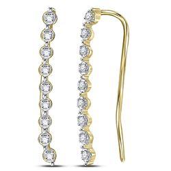 10kt Yellow Gold Round Diamond Climber Earrings 1/20 Cttw