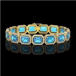 35.61 ctw Swiss Topaz & Diamond Micro Pave Halo Bracelet 10K Yellow Gold