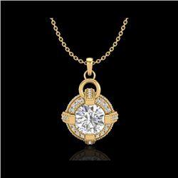 1.57 ctw VS/SI Diamond Micro Pave Stud Necklace 18K Yellow Gold
