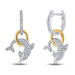 10k White Gold Round Pave-set Diamond Dolphin Nautical Dangle Earrings 1/3 Cttw