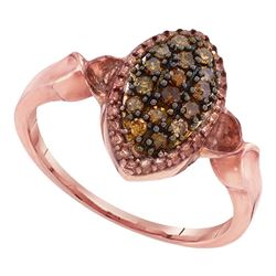 10kt Rose Gold Round Brown Diamond Oval Cluster Ring 1/5 Cttw