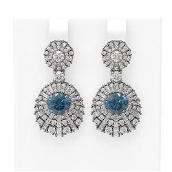 7.73 ctw Intense Blue Diamond Earrings 18K White Gold
