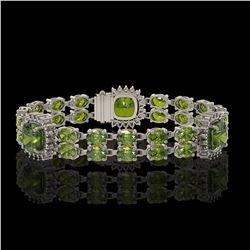 18.93 ctw Tourmaline & Diamond Bracelet 14K White Gold