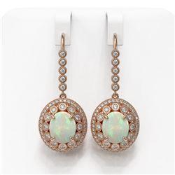 10.26 ctw Certified Opal & Diamond Victorian Earrings 14K Rose Gold