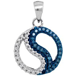 10kt White Gold Round Blue Color Enhanced Diamond Circle Ying Yang Pendant 1/10 Cttw