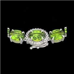 80 ctw Peridot & VS/SI Diamond Micro Pave Necklace 14K White Gold
