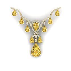 34.70 ctw Canary Citrine & VS Diamond Necklace 18K Yellow Gold