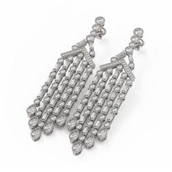 11.37 ctw Mixed Cut Diamond Designer Earrings 18K White Gold