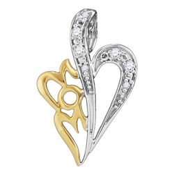 Sterling Silver Round Diamond Mom Heart Pendant 1/8 Cttw