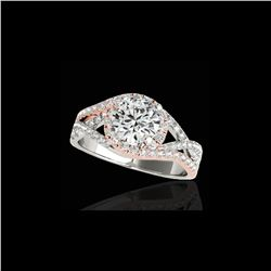 2 ctw Certified Diamond Solitaire Halo Ring 10K White & Rose Gold