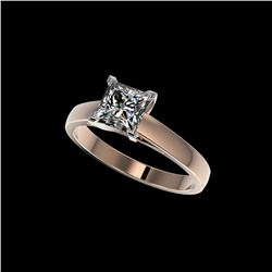 1.25 ctw Certified VS/SI Quality Princess Diamond Ring 10K Rose Gold
