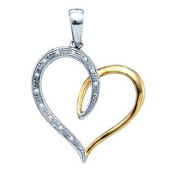 Sterling Silver Round Diamond Two-tone Heart Pendant 1/20 Cttw