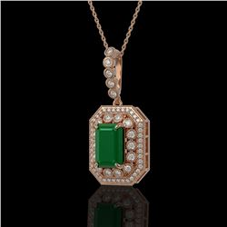7.18 ctw Certified Emerald & Diamond Victorian Necklace 14K Rose Gold