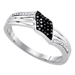 Sterling Silver Round Black Color Enhanced Diamond Band Ring 1/10 Cttw