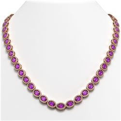 29.38 ctw Amethyst & Diamond Micro Pave Halo Necklace 10K Rose Gold