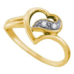 10kt Yellow Gold Round Diamond Simple Heart Ring 1/20 Cttw