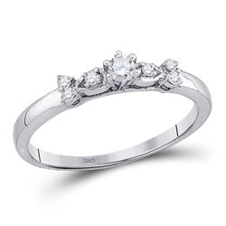 10kt White Gold Round Diamond Solitaire Promise Bridal Ring 1/6 Cttw