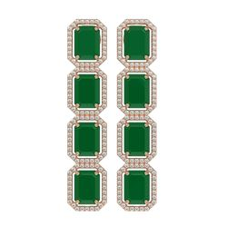 20.59 ctw Emerald & Diamond Micro Pave Halo Earrings 10K Rose Gold