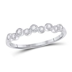 10kt White Gold Round Diamond Cluster Stackable Band Ring 1/6 Cttw