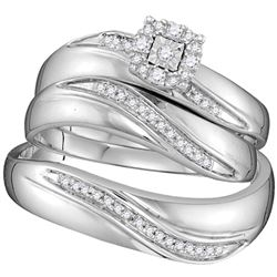 Sterling Silver His & Hers Round Diamond Solitaire Matching Bridal Wedding Ring Band Set 1/5 Cttw
