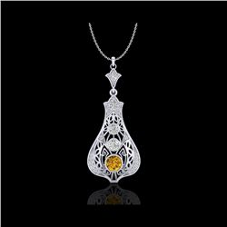 1.75 ctw Intense Fancy Yellow Diamond Art Deco Necklace 18K White Gold