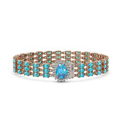 27.33 ctw Swiss Topaz & Diamond Bracelet 14K Rose Gold