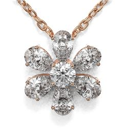 1.25 ctw Pear Cut Diamond Designer Necklace 18K Rose Gold