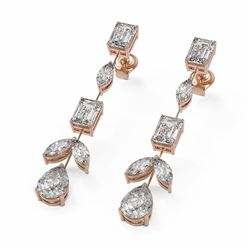 6.72 ctw Mix Cut Diamonds Designer Earrings 18K Rose Gold