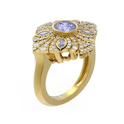 2.32 ctw Tanzanite & Diamond Ring 18K Yellow Gold