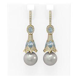 6.18 ctw Aquamarine & Diamond Earrings 18K Yellow Gold
