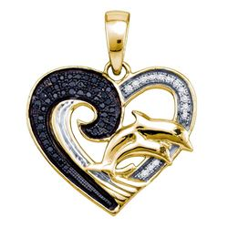 Sterling Silver Black Color Enhanced White Diamond Yellow-tone Heart Double Dolphin Pendant 1/6 Cttw