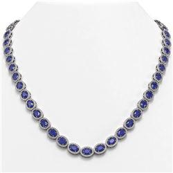 34.11 ctw Sapphire & Diamond Micro Pave Halo Necklace 10K White Gold