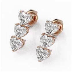 0 ctw Heart Diamond Designer Earrings 18K Rose Gold