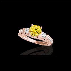 1.63 ctw Certified SI Intense Yellow Diamond Antique Ring 10K Rose Gold