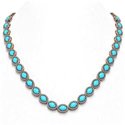 36.208 ctw Turquoise & Diamond Micro Pave Halo Necklace 10K Rose Gold