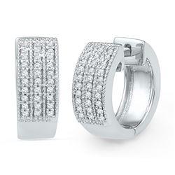 10kt White Gold Round Diamond Huggie Hoop Earrings 1/4 Cttw