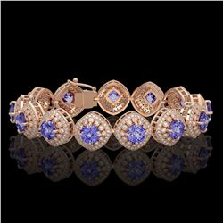 38.1 ctw Tanzanite & Diamond Victorian Bracelet 14K Rose Gold