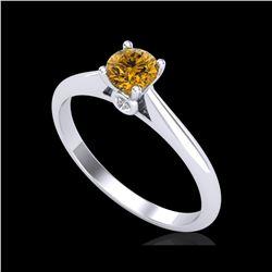 0.4 ctw Intense Fancy Yellow Diamond Art Deco Ring 18K White Gold