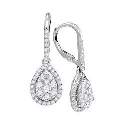 14kt White Gold Round Diamond Leverback Teardrop Dangle Earrings 1-3/8 Cttw