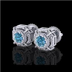 1.11 ctw Fancy Intense Blue Diamond Art Deco Earrings 18K White Gold