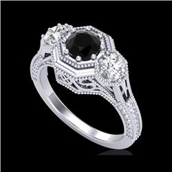 1.05 ctw Fancy Black Diamond Art Deco 3 Stone Ring 18K White Gold