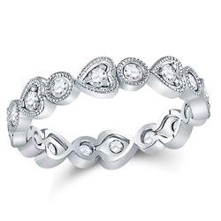 10kt White Gold Round Diamond Heart Eternity Band Ring 3/8 Cttw