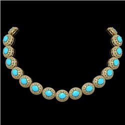 86.75 ctw Turquoise & Diamond Victorian Necklace 14K Yellow Gold