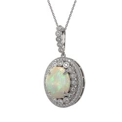 9.38 ctw Certified Opal & Diamond Victorian Necklace 14K White Gold