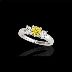 2 ctw SI/I Fancy Intense Yellow Diamond 3 Stone Ring 10K White Gold