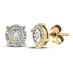 Yellow-tone Sterling Silver Round Diamond Value Stud Earrings 1/20 Cttw