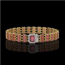 25.49 ctw Tourmaline & Diamond Bracelet 14K Yellow Gold